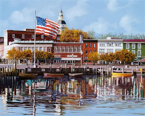 Annapolis Boat Canvas by Annapolis Painting By Guido Borelli