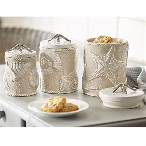 themed kitchen canisters sand nautilus canister set