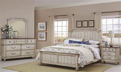 rustic bedroom furniture arrendelle rustic white and cherry mansion bedroom set White