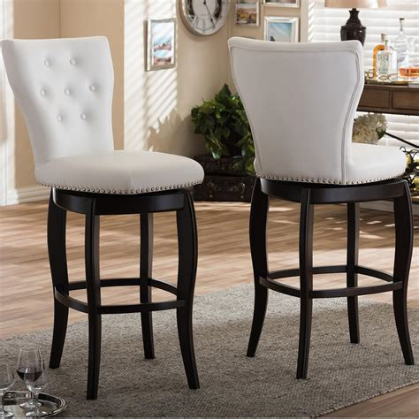Upholstered Kitchen Counter Stools by Baxton Studio Leonice White Faux Leather Upholstered 2