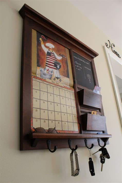 Kitchen Organizer Chalkboard by Family Planner Wall Calendar Frame Maple Furniture Front