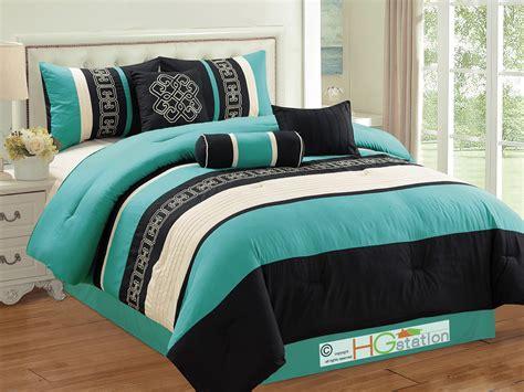 7pc greek key meander motif embroidery comforter set