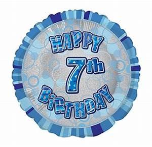 Happy 7th Birthday Blue Prismatic Balloon