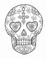Sugar Coloring Skull Skulls Pages Heart Adult Sheets Colouring Tattoo Dia Template sketch template