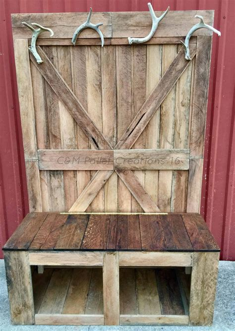 rustic  foot tall pallet hall tree bench  pallets