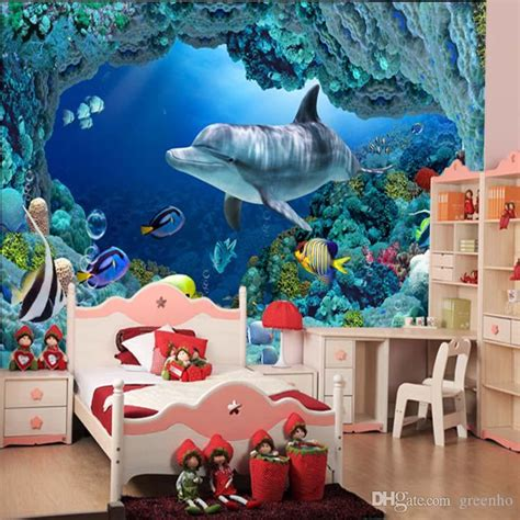 wall mural underwater world cute fish dolphin large
