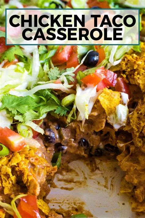 This chicken taco casserole is creamy and crunchy! Layers ...