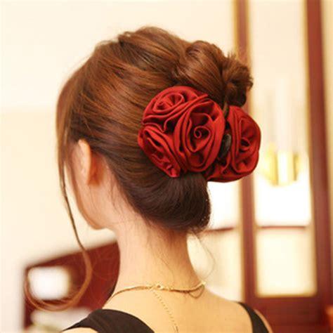 hair accessories aksesoris korean ribbon flower bow jaw clip barrette