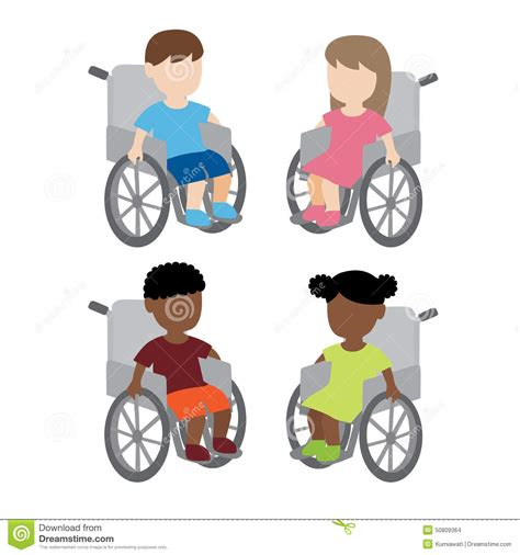 enfants handicap 233 s de fauteuil roulant illustration de vecteur image 50809364
