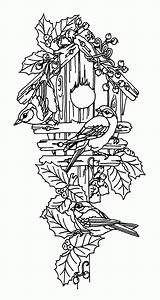 Coloring Bird Pages Birdhouse Guarding Couple Adult Wood Decorative Patterns Printable Colouring Coloringhome Using Books Glass Garden Place Stain Line sketch template