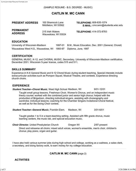 resume template  samples examples format