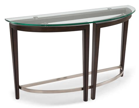 Magnussen Home Carmen Contemporary Wood And Glass Demilune