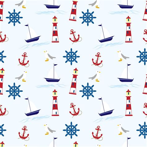 Nautical Background Nautical Wallpaper Pattern Seamless Free Stock Photo