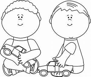 Black and White Boys Playing with Trucks Clip Art - Black ...