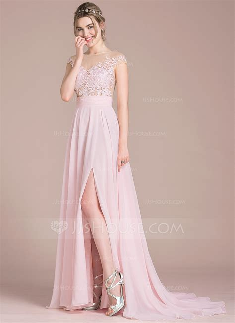 House Prom - a line princess scoop neck sweep chiffon prom