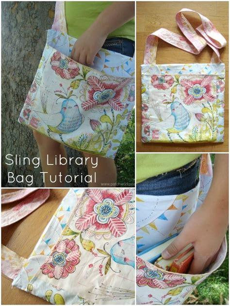 sling library bag tutorial  patchwork posse skip   lou