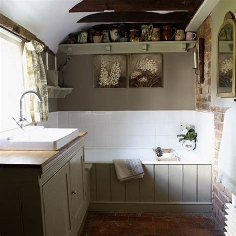 country style bathroom brick floor   home pinterest