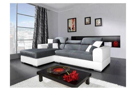 objet design cuisine canapé d 39 angle madrid i cuir pu et microfibre gris et