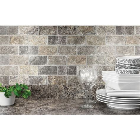 shop anatolia tile silver crescent brick mosaic natural