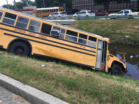 School Bus Crashes Into Canal In Metairie