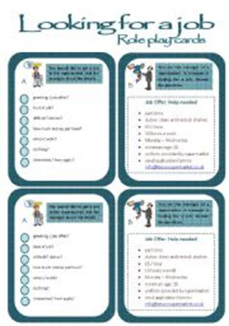 role play cards series a job interview esl worksheet by poohbear