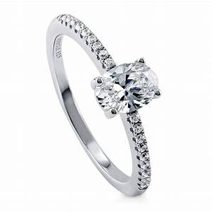 berricle sterling silver oval cz solitaire promise With promise engagement wedding ring