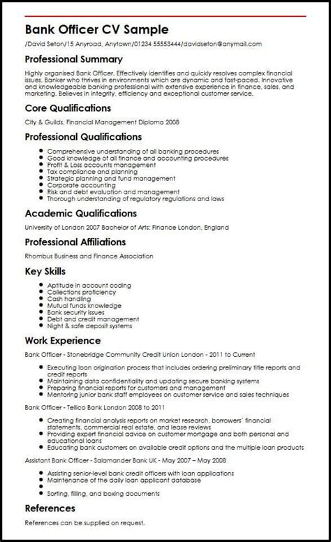 bank officer cv sample myperfectcv good resume