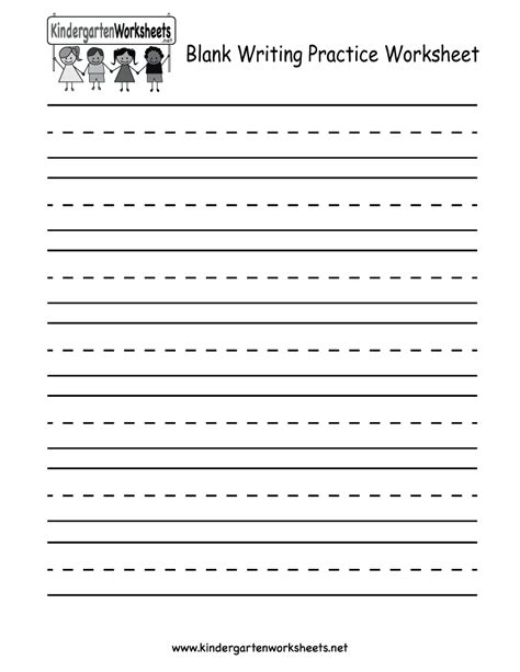 Blank Writing Practice Worksheet  Free Kindergarten English Worksheet For Kids