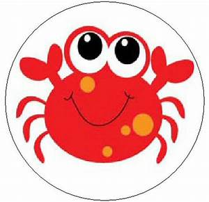 "CUTE RED CRAB - 1"" Sticker / Seal Labels! 