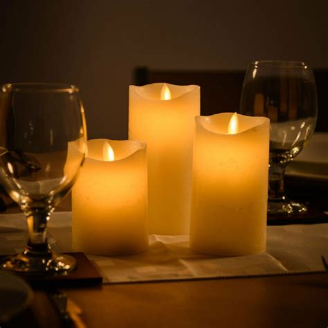 candel wax 3 flameless wax led flickering candles battery