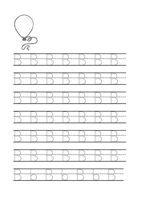 letter b tracing worksheets for preschool coloring pages