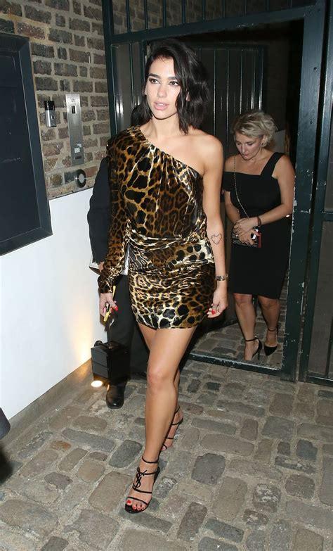dua lipa   short leopard print dress leaving