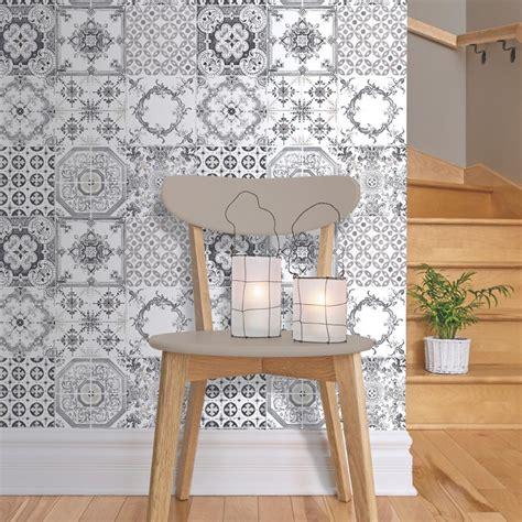 kitchen tiled wallpaper new muriva tile pattern retro floral motif kitchen 3306