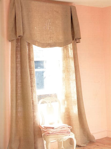 Monogrammed Valance; Burlap Fabric  Our House In The