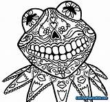 Skull Coloring Sugar Simple Muertos Dia Printable Muppets Drawing Dead Kermit Frog Halloween Skulls Adult Drawings Calaveras Colorear Animal Sheets sketch template