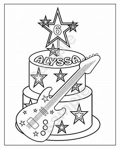 Cake Rockstar Coloring Printable Birthday Verjaardag Kleurplaat