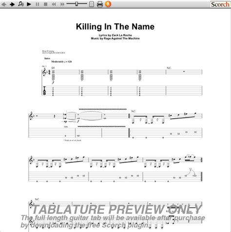 In the Killing Name Guitar Tab
