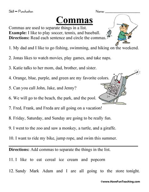 commas in a series worksheets 3rd grade