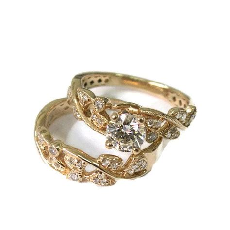 vintage wedding ring sets yellow gold leaves engagement set yellow gold 14k wedding set