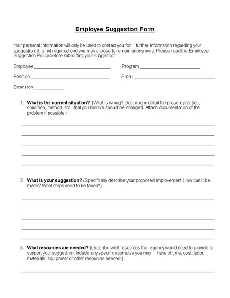 Word Employee Suggestion Form Template by Free Employee Suggestion Form Word Format Templates At