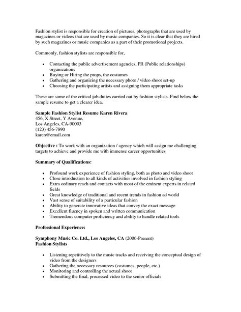 Wardrobe Stylist Resume by Fashion Stylist Resume Objective Http Www Resumecareer