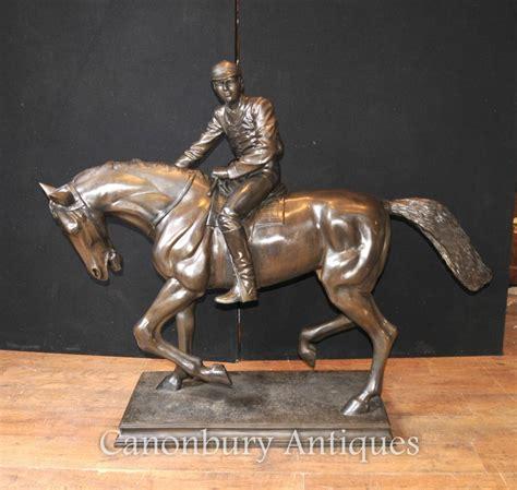 large antique french bronze horse  jockey statue signed