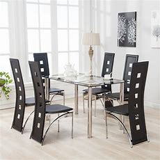 Mecor 7pcs Dining Table Set 6 Chairs Glass Metal Kitchen
