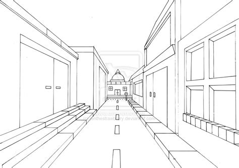 One Point Perspective City Drawing at GetDrawings.com