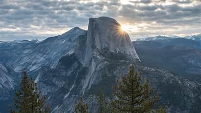 Mountains Peak Yosemite Trees States United Background