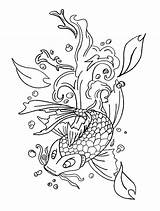 Koi Coloring Fish Pages Adult Adults Coy Printable Colouring Realistic Carp Drawings Japanese Dragon Template Mermaid Grown Print 23kb 1029px sketch template