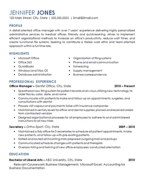 Professional Resume Exles Management by Office Management Resume Exles Resume Exles