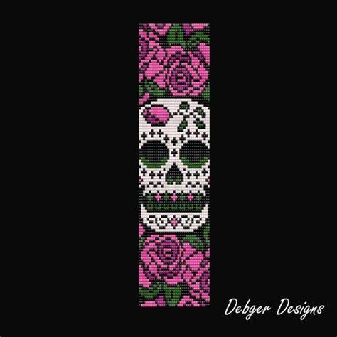 sugar skull loom bracelet cuff pattern debgerdesigns patterns on artfire bracelet patterns