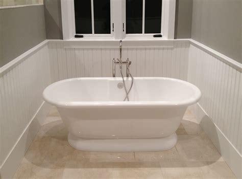 tub surrounded  beadboard wainscoting windsorone