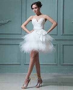 elegant short white layered tulle skirt wedding dress with With elegant short white wedding dress